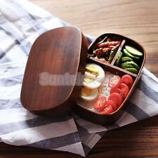 Japan-style Vintage Wooden Bento Sushi Lunch Box Picnic Food Container Red Wood