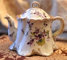 ANTIQUE HAND PAINTED SMALL TEA POT PURPLE VIOLET FLOWERS GOLD GILT PORCELAIN WOW