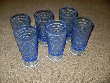 6 Blue Colony Indiana Cubist Whitehall Tall Tea Glasses Footed Vintage