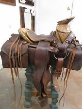 Antique Saddle #2-Old Mexican-Western-Rustic-Vaquero-Cowboy-Wild West-Leather