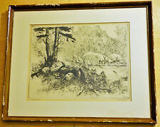 "REINHOLD R.H. PALENSKE "" PRETTY SOFT"" ORIGINAL DRYPOINT ETCHING SIGNED"