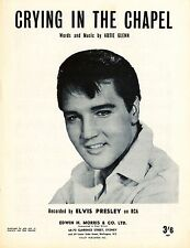 ELVIS PRESLEY - CRYING IN THE CHAPEL - Original SHEET MUSIC Australia