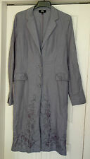 New Sz 16-18 Long Tall Sally Wedgewood Blue Embroidered Long line Jacket Coat