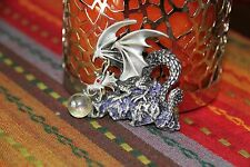 JJ Jonette Vintage Signed Fire Breathing Flying Dragon Pewter Brooch Pin NEW