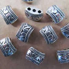 20pc Retro Tibetan Silver 3 Holes Carved Spacer Beads Accessories Findings B04P