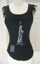 VINTAGE BETSEY JOHNSON STATUE OF LIBERTY BLACK  100 % COTTON  TANK TOP SIZE XS?