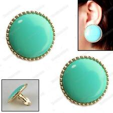 CLIP ON BIG 3cm ROUND retro EARRINGS blue green TURQUOISE gold plt vintage chic