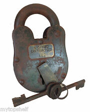 "Alcatraz San Francisco Prison Lock Padlock Keys 3X5"" Big Heavy Large Cast Iron"