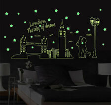 London Skyline Big Ben Tower Bridge Glow in the Dark Wall Stickers + Extra Stars