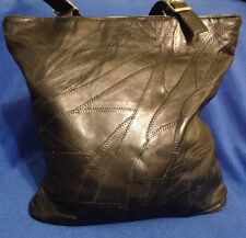 "Beautiful Black 12"" Purse Tote Bag, Patch Work, Genuine Leather, NWOT"
