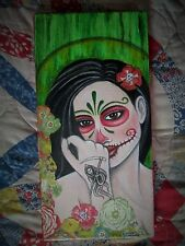 Original Fantasy Art Painting Canvas - Day of the Dead Woman Santa Muerte Skull