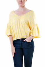Free People Women's Authentic New In Full Bloom Top Yellow RRP £122 BCF69