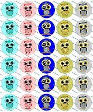 """30 Precut 1"""" Cute Owls with Mustaches Bottle cap Images Set 1"""