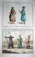 1752 Nieuhof CHINA Costume Print MANCHU ARCHERS + UZBEKI COUPLE Rare!