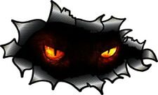 Carbon Fibre Fiber Ripped Open Torn Metal Evil Demon Demonic Eyes car sticker