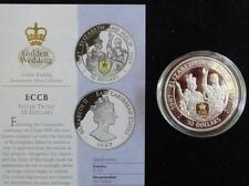 1997 SILVER PROOF ECCB $10 COIN WITH A GOLD CAMEO + COA QUEENS GOLDEN WEDDING