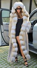 GOLDEN ISLAND LONG FOX FUR COAT HOOD CLAS OF CHINCHILLA SABLE JACKET MINK SILVER