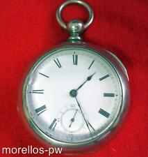 1884  WALTHAM BROADWAY POCKET WATCH 18S KEY WIND KEY SET SILVERINE CASE SERVICED