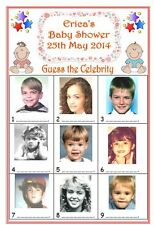 12 x PERSONALISED BABY SHOWER SPOT THE CELEBRITY GAME CARDS