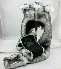 White Wolf Anime Spirit Paws Ears Faux Animal Hood Hoods Mittens Gloves Scarf