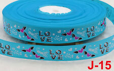 2 yds 25mm Blue love Printed Grosgrain Ribbon Polyester Sewing Crafts DIY Bows