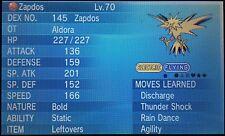 Non Shiny 6IV* HP Ice Pentagon Aldoras Bold Static Zapdos Pokemon ORAS XY