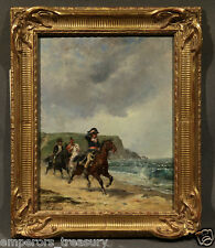 19th Cen Oil Painting Soldiers on Beach signed Emile-Jean-Horace Vernet (French)