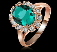 18K REAL ROSE GOLD FILLED EM GREEN RING SIZE 8(Q) MADE WITH SWAROVSKI CRYSTALS