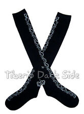 Crossed Ribbon Garland Black Gray Sweet Gothic Lolita Cosplay Over Knee Socks