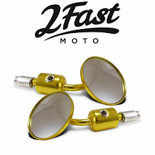 Universal Bar End Mirrors 7/8 Gold Motorcycle Cafe Racer Bobber Chopper Ducati