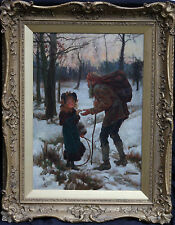 ALICE HAVERS 1850-1890 BRITISH VICTORIAN GENRE OIL PAINTING ART GIRL SNOW SCENE