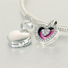 HEART LOCKET DANGLE OPENS, w PINK  .925 Sterling Silver European Charm Bead