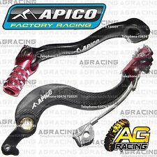 Apico Black Red Rear Brake & Gear Pedal Lever For Honda CRF 250X 2004-2016 MotoX