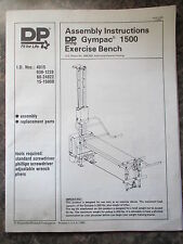 DP GYMPAC 1500 WEIGHT LIFTING EXERCISE MACHINE ASSEMBLY INSTRUCTIONS MANUALS