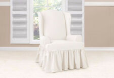 Sure Fit slip cover slipcover Essential Twill Ruffle Supreme Wing Chair White