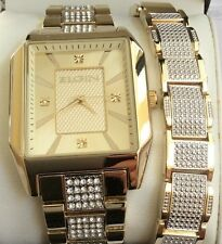 Elgin Two-Tone Men's Watch SET Rectangle Gold Dial with Matching Bracelet NEAT!