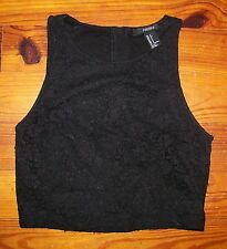 Women's Juniors FOREVER 21 Solid Black Floral Lace Cropped Shirt Size Small