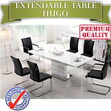 BRAND NEW Modern Extendable White MDF Dining Table 2.2m - HUGO