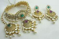 PURPLE GREEN KUNDAN PEARL GOLD TONE BOLLYWOOD CHOKER NECKLACE INDIAN JEWELRY SET