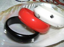 Estate Lot of 3 Red White & Black Plastic with Clear Rhinestone Studs Bangle