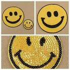 Sequins Happy Smile Face Yellow Iron On Applique Embroidered Patch Sewing 1/2pcs