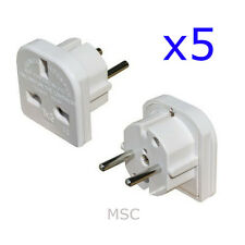 5 x European Travel Adapter Plug (3 pin to 2 pin) Free UK Postage