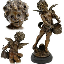 PUTTO TROMMLER - BRONZE CHERUB with DRUM geflügelter CUPID ENGELPUTTI FIGUR AMOR