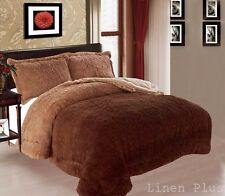 3 Piece Fur Long Pile Brown Plush Super Soft Sherpa Blanket King Size 8Ib