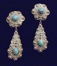 Antique Victorian Etruscan Style (950)  Sterling Silver Earrings