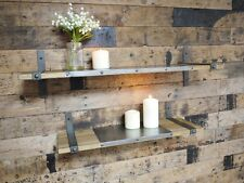 S/2 Wood & Metal Industrial Wall Floating Storage Shelf Display Unit Shelves