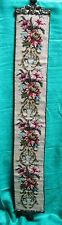 Vintage Needlepoint Bell Pull Colorful Florals Rococo Hardware Metallic Trim