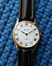 Vintage Accurist Swiss Ultra Thin Dress Watch Peseux Movement Roman Numerals