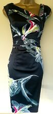 Karen Millen 6 Stunning Hibiscus Floral Wedding Races Cruise Pencil Dress £175