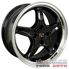 Black Wheel 17x8 Cobra R Deep Dish Style w/Machined Lip for 1979-93 Ford Mustang